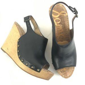 Sam Edelman Camilla Wedges Black Leather Sandal 9